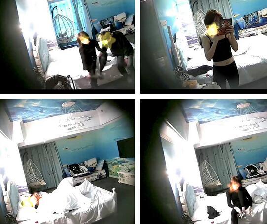 【360摄像头】海洋主题酒店情侣射在奶上吞精液6